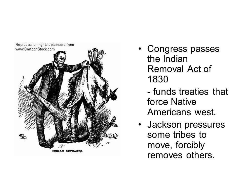 Congress passes the Indian Removal Act of 1830 - funds treaties that force Native Americans west. Jackson pressures some tribes to move, forcibly remo