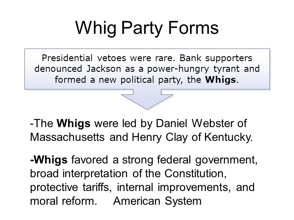 Presidential vetoes were rare. Bank supporters denounced Jackson as a power-hungry tyrant and formed a new political party, the Whigs. -The Whigs were