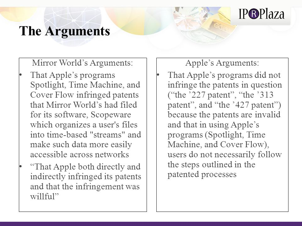 Central Dispute Did Apple's three programs actually infringe three registered US patents - ( the '227 patent ), ( the '313 patent ), and ( the '427 patent ).