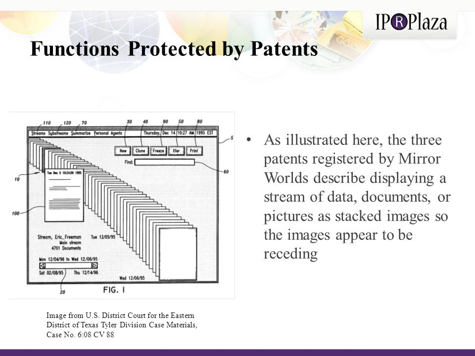 Functions Protected by Patents As illustrated here, the three patents registered by Mirror Worlds describe displaying a stream of data, documents, or pictures as stacked images so the images appear to be receding Image from U.S.