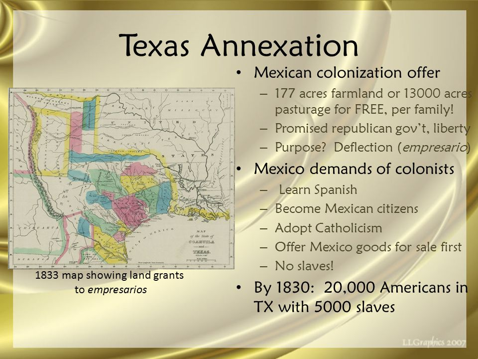 Texas Annexation Mexican colonization offer – 177 acres farmland or 13000 acres pasturage for FREE, per family.