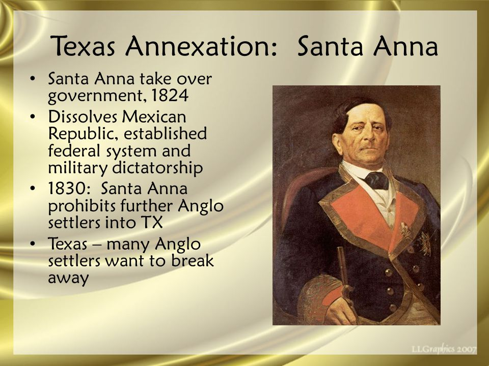 Texas Annexation: Revolution March 2, 1836: Texans declare independence from Mexico – 1824 Mexican Constitution changed – Colonization guarantees had not been honored US style constitution, protecting slavery