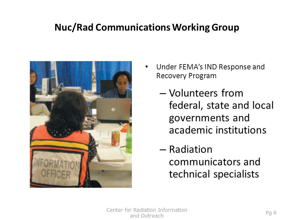 Nuc/Rad Communications Working Group Under FEMA's IND Response and Recovery Program – Volunteers from federal, state and local governments and academi