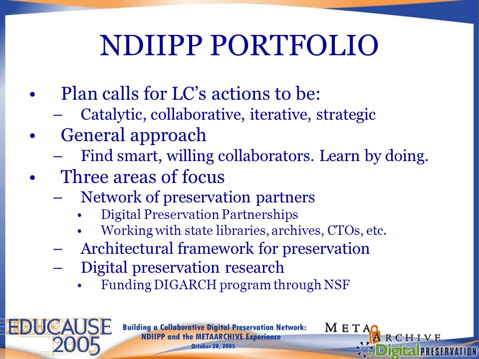 NDIIPP PORTFOLIO Plan calls for LC's actions to be: –Catalytic, collaborative, iterative, strategic General approach –Find smart, willing collaborator