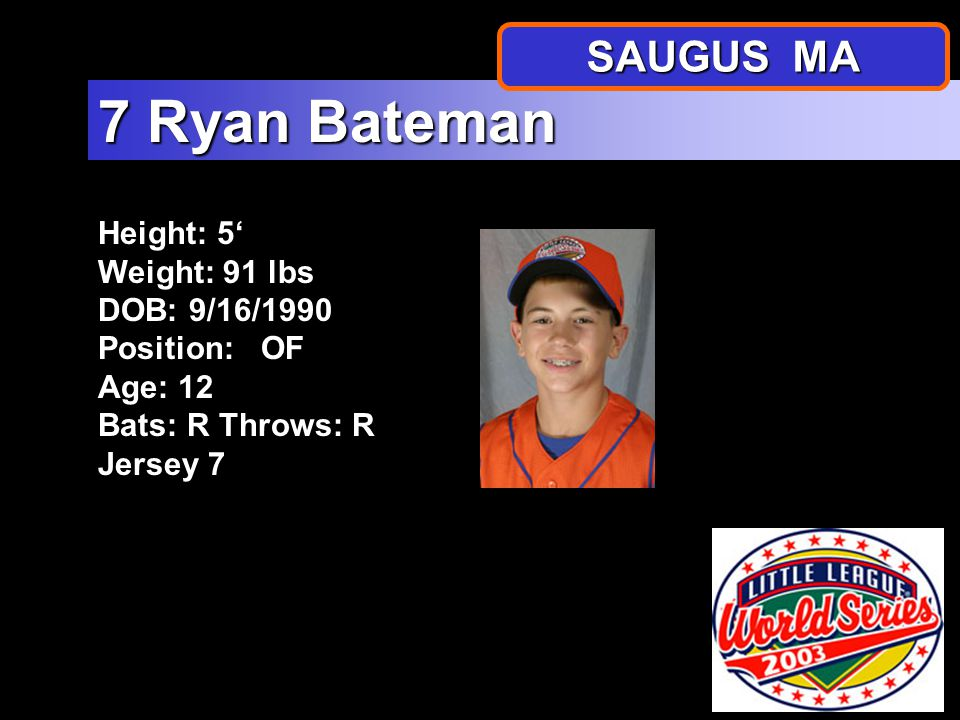 Height: 4 10 Weight: 84 lbs DOB: 8/26/1990 Position: P, SS Age: 12 Bats: RThrows: R Jersey 6 6 Michael Scuzzarella SAUGUS MA