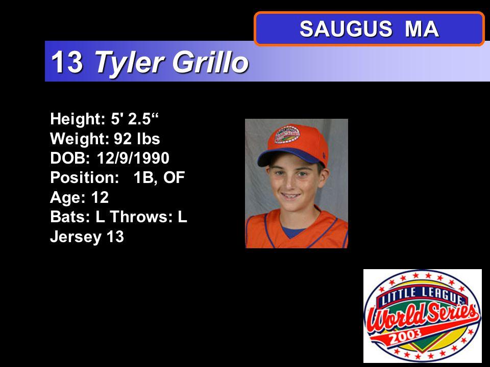 "Height: 5' 1"" Weight: 101 lbs DOB: 2/22/1991 Position: P, 2B Age: 12 Bats: RThrows: R Jersey 12 12 Joseph Kasabuski SAUGUS MA"