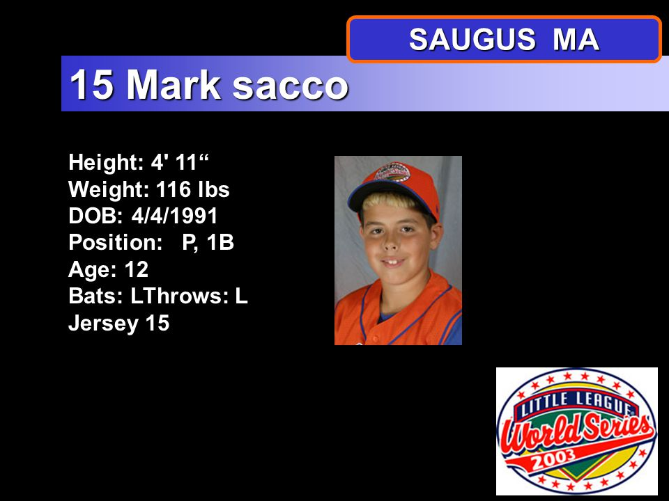 Height: 5 4.5 Weight: 144 lbs DOB: 3/25/1991 Position: C Age: 12 Bats: RThrows: R Jersey 14 14 Tyler Calla SAUGUS MA