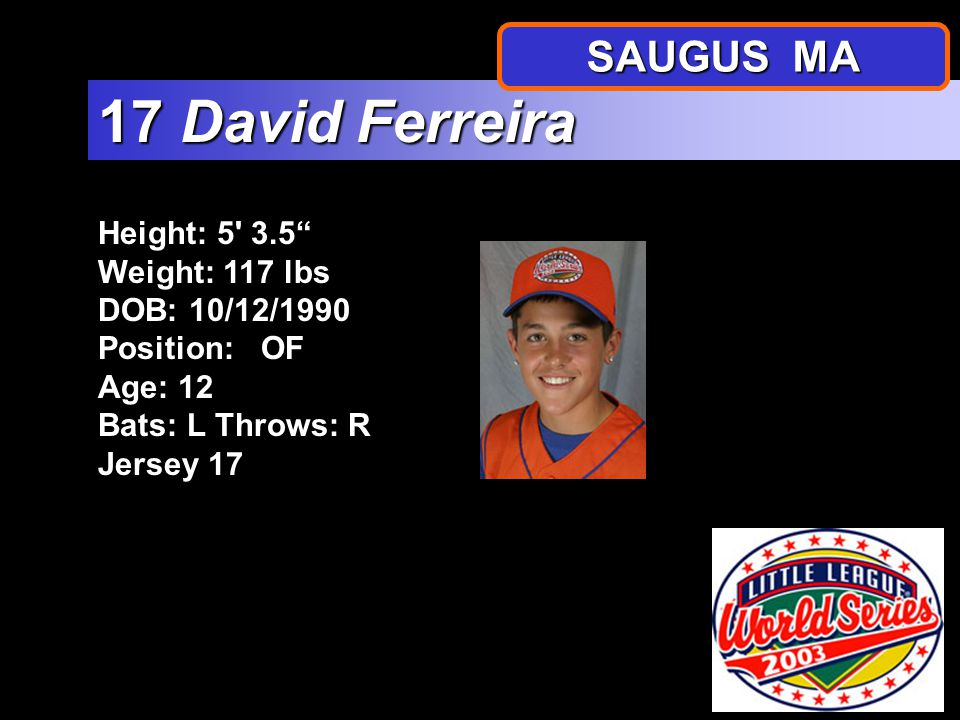 Height: 5 5.5 Weight: 104 lbs DOB: 4/27/1991 Position: 1B Age: 12 Bats: RThrows: R Jersey 16 16 Anthony DiSciscio SAUGUS MA