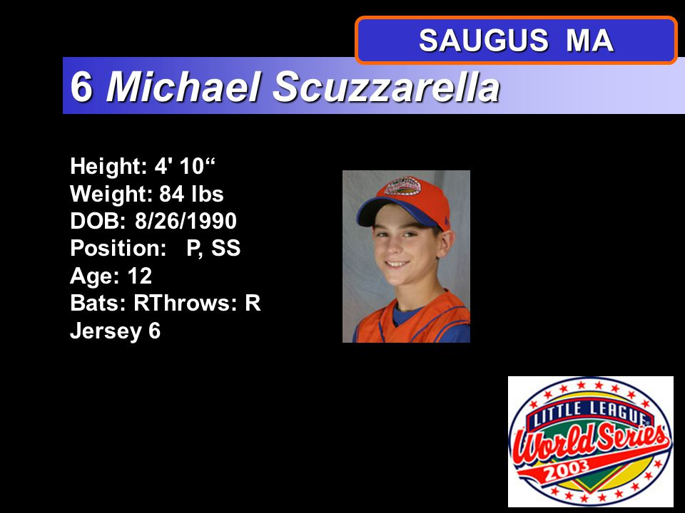 Height: 4 10.5 Weight: 86 lbs DOB:11/15/1990 Position: P, OF, SS Age: 12 Bats: R Throws: R Jersey 5 5 Craig Cole SAUGUS MA