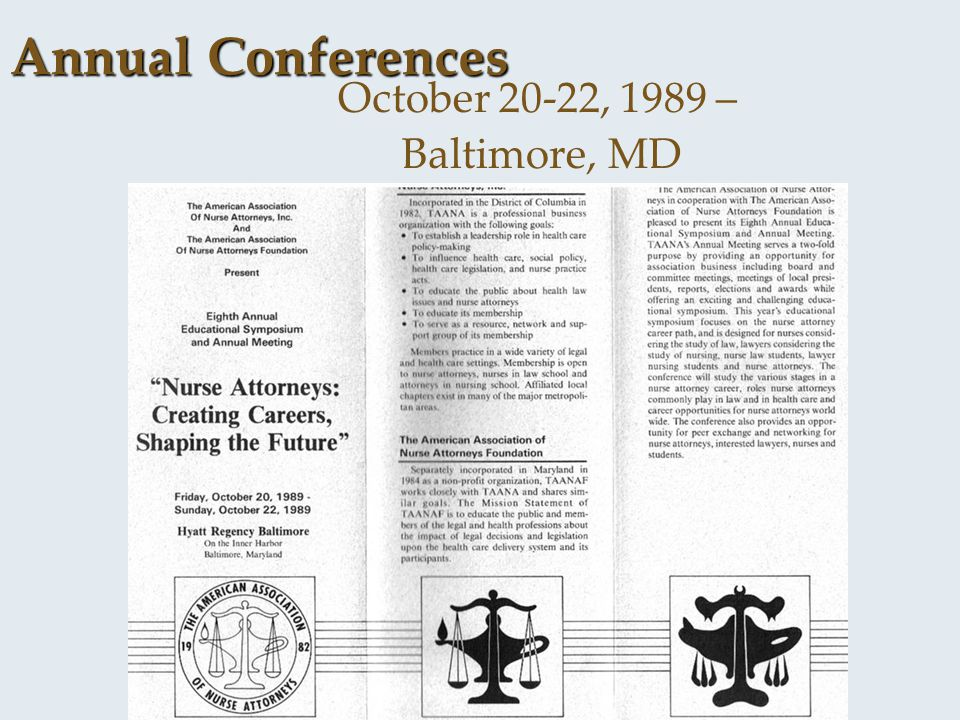 October 20-22, 1989 – Baltimore, MD Annual Conferences