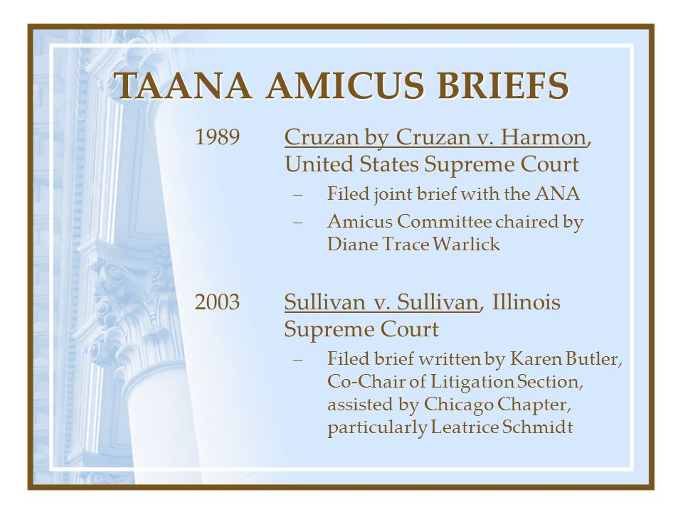 1989Cruzan by Cruzan v. Harmon, United States Supreme Court –Filed joint brief with the ANA –Amicus Committee chaired by Diane Trace Warlick 2003Sulli