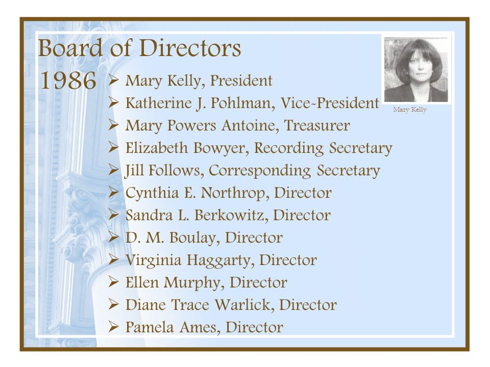 Board of Directors 1986  Mary Kelly, President  Katherine J. Pohlman, Vice-President  Mary Powers Antoine, Treasurer  Elizabeth Bowyer, Recording