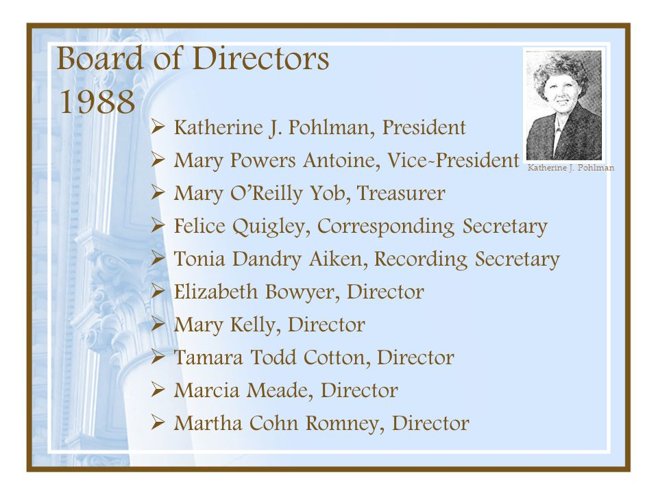Board of Directors 1988  Katherine J. Pohlman, President  Mary Powers Antoine, Vice-President  Mary O'Reilly Yob, Treasurer  Felice Quigley, Corre