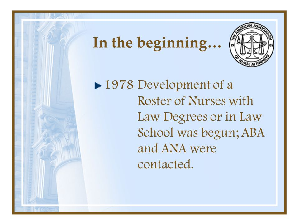 In the beginning… 1978Development of a Roster of Nurses with Law Degrees or in Law School was begun; ABA and ANA were contacted.
