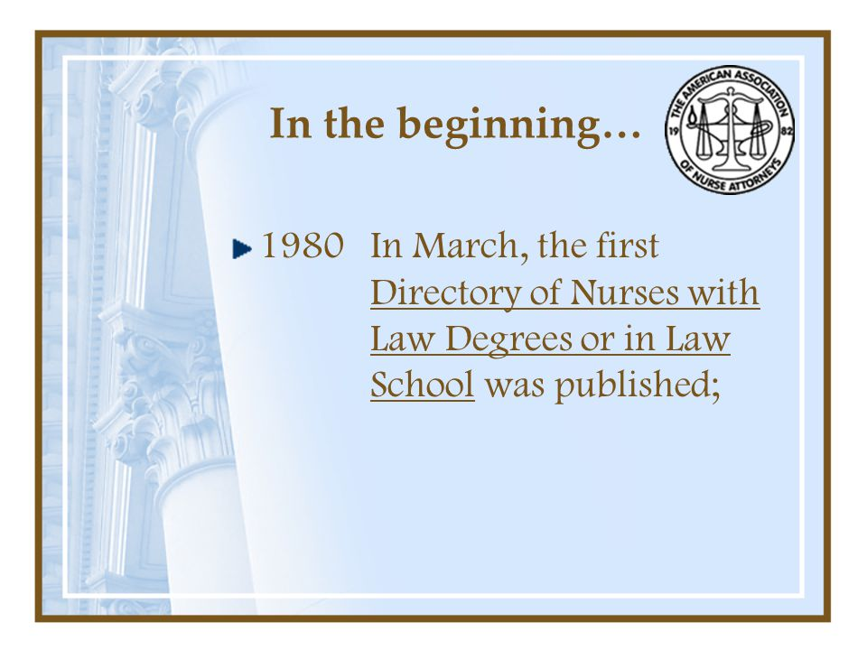In the beginning… In March, the first Directory of Nurses with Law Degrees or in Law School was published; 1980