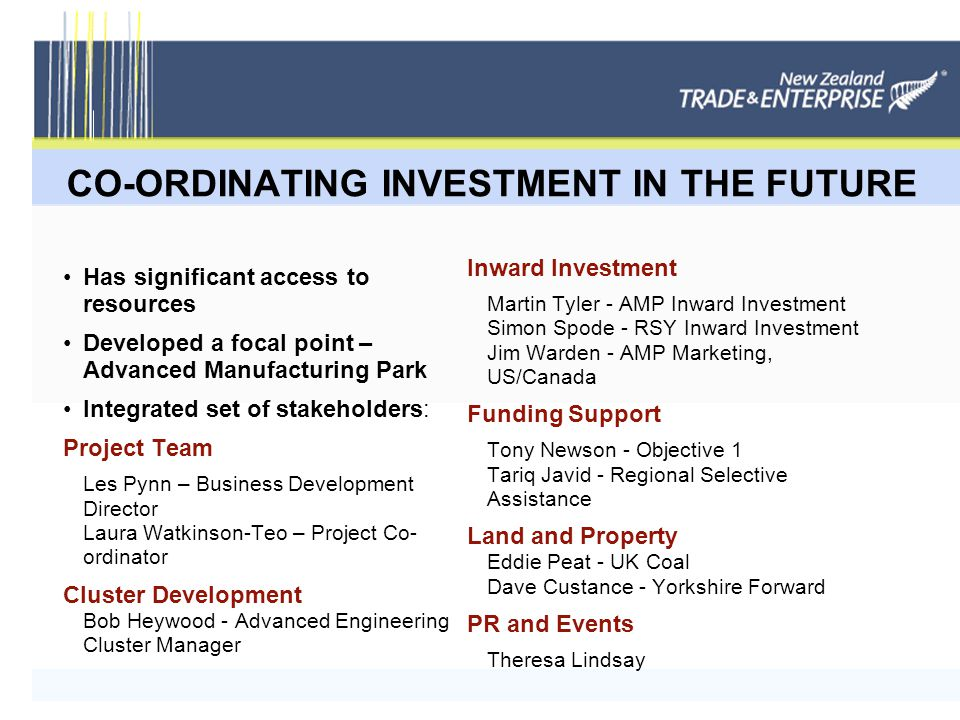 CO-ORDINATING INVESTMENT IN THE FUTURE Has significant access to resources Developed a focal point – Advanced Manufacturing Park Integrated set of stakeholders: Project Team Les Pynn – Business Development Director Laura Watkinson-Teo – Project Co- ordinator Cluster Development Bob Heywood - Advanced Engineering Cluster Manager Inward Investment Martin Tyler - AMP Inward Investment Simon Spode - RSY Inward Investment Jim Warden - AMP Marketing, US/Canada Funding Support Tony Newson - Objective 1 Tariq Javid - Regional Selective Assistance Land and Property Eddie Peat - UK Coal Dave Custance - Yorkshire Forward PR and Events Theresa Lindsay
