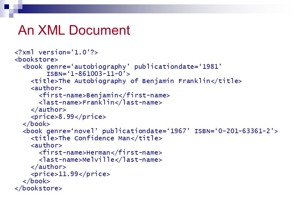 An XML Document <book genre='autobiography' publicationdate='1981' ISBN='1-861003-11-0'> The Autobiography of Benjamin Franklin Benjamin Franklin 8.99