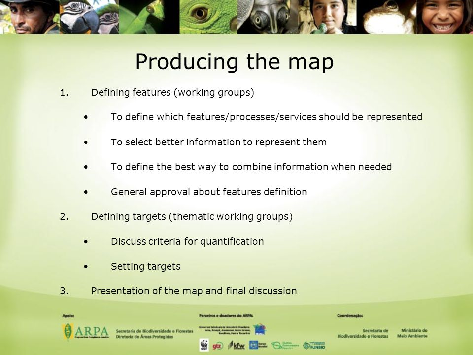 Producing the map 1.Defining features (working groups) To define which features/processes/services should be represented To select better information to represent them To define the best way to combine information when needed General approval about features definition 2.Defining targets (thematic working groups) Discuss criteria for quantification Setting targets 3.Presentation of the map and final discussion