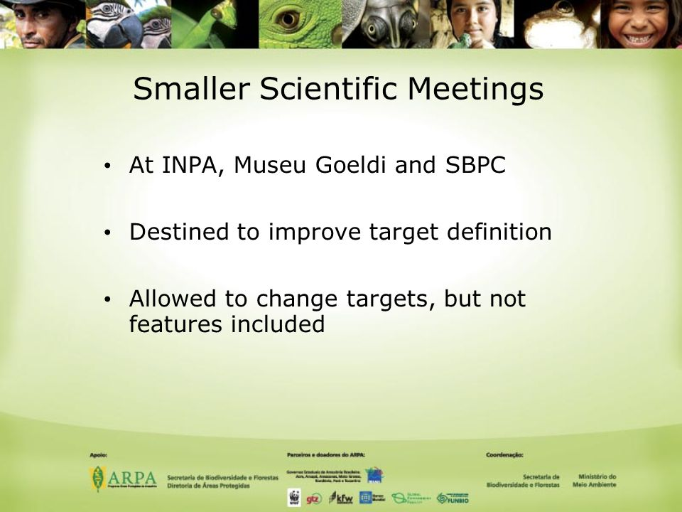 Smaller Scientific Meetings At INPA, Museu Goeldi and SBPC Destined to improve target definition Allowed to change targets, but not features included