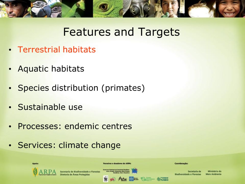 Features and Targets Terrestrial habitats Aquatic habitats Species distribution (primates) Sustainable use Processes: endemic centres Services: climate change