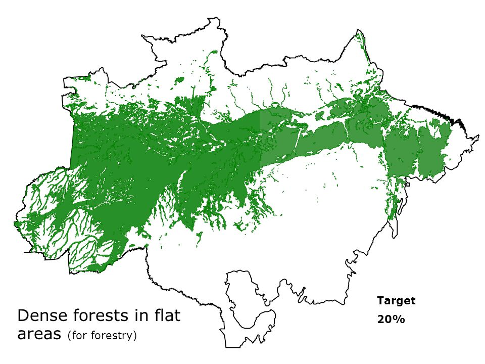 Dense forests in flat areas (for forestry) Target 20%