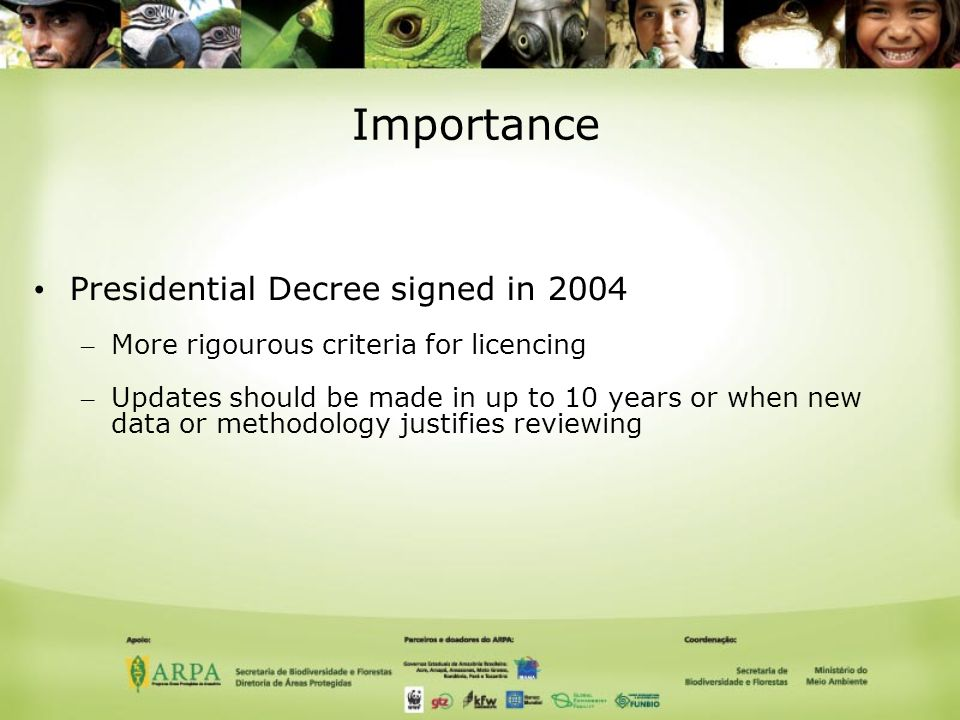 Importance Presidential Decree signed in 2004 – More rigourous criteria for licencing – Updates should be made in up to 10 years or when new data or methodology justifies reviewing