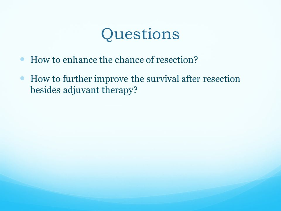 Neoadjuvant Therapy in Resectable Disease Median survival was 34 months for patients who underwent neoadjuvant therapy and surgery