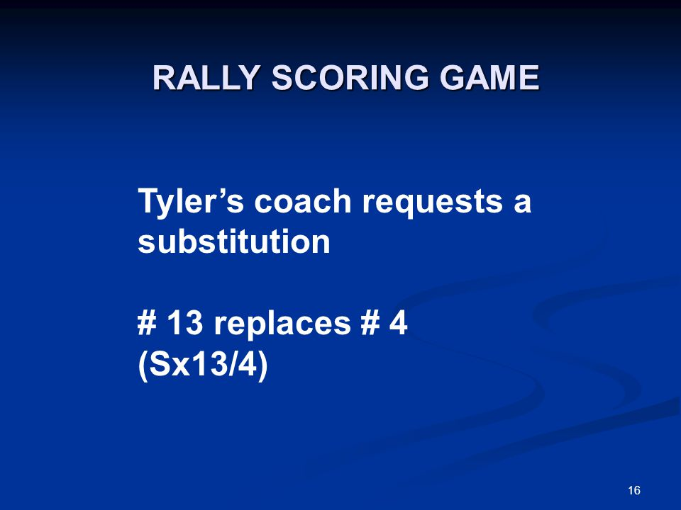 16 Tyler's coach requests a substitution # 13 replaces # 4 (Sx13/4) RALLY SCORING GAME