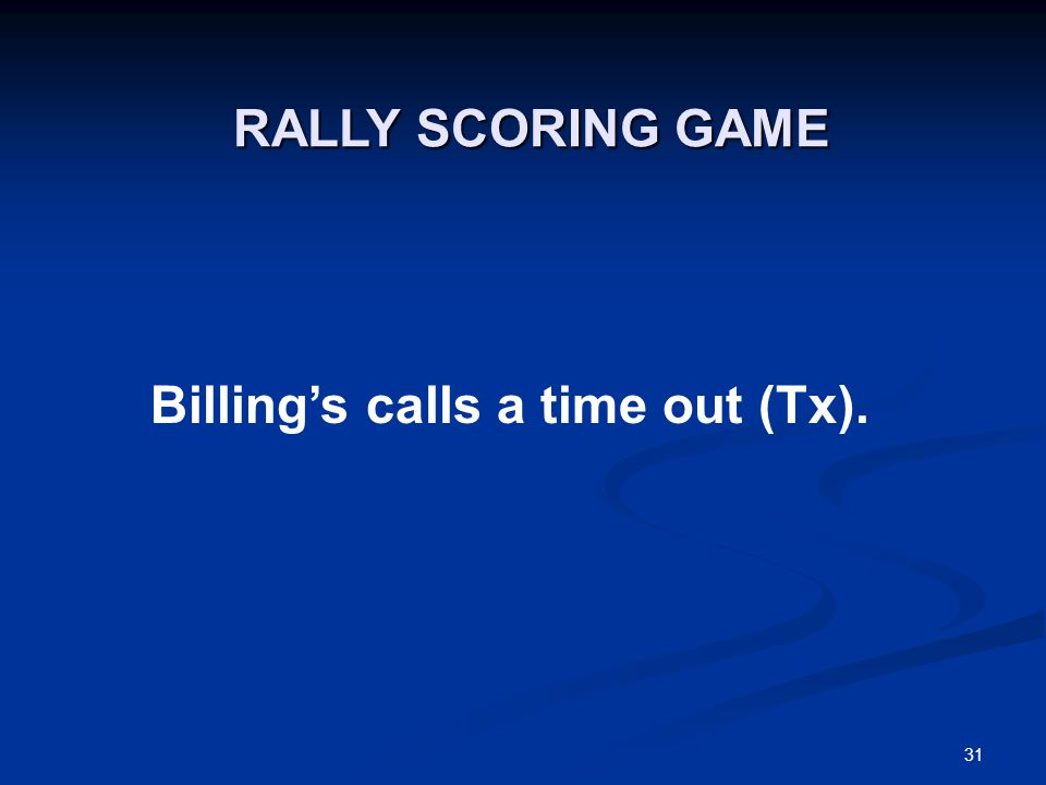 31 Billing's calls a time out (Tx). RALLY SCORING GAME