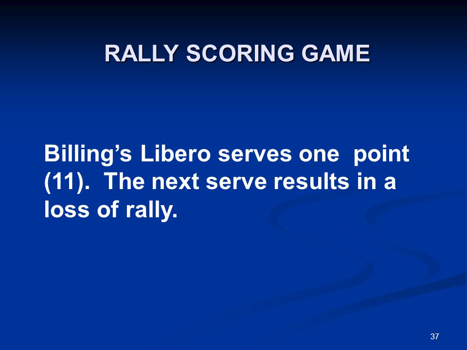 37 Billing's Libero serves one point (11). The next serve results in a loss of rally.