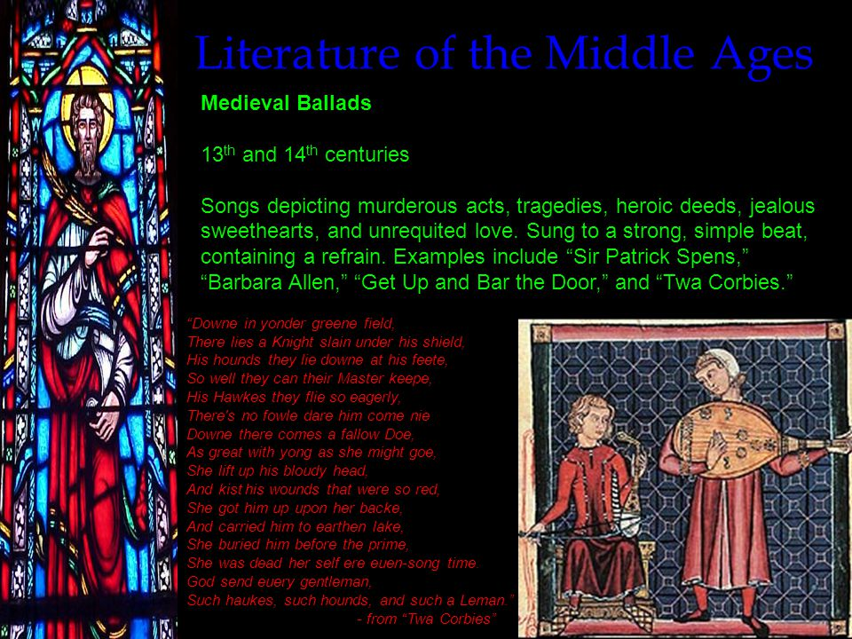 Literature of the Middle Ages Sir Thomas Malory (1405-1471) Le Morte d'Arthur (1485) Popular rendition printed by William Caxton of the story of King Arthur and his knights.