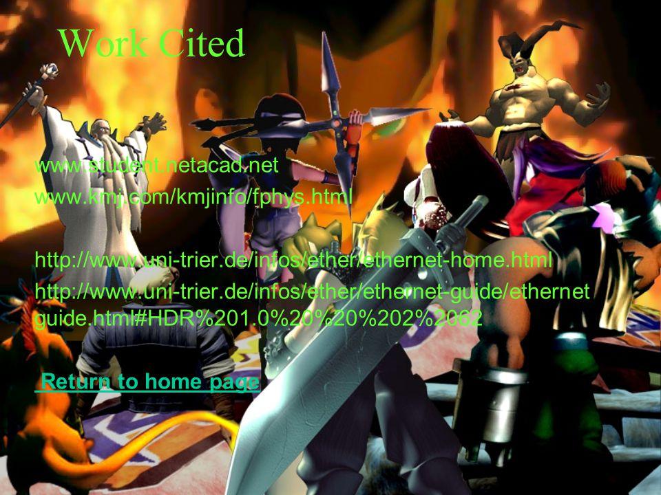 Work Cited www.student.netacad.net www.kmj.com/kmjinfo/fphys.html http://www.uni-trier.de/infos/ether/ethernet-home.html http://www.uni-trier.de/infos/ether/ethernet-guide/ethernet guide.html#HDR%201.0%20%20%202%2062 Return to home page