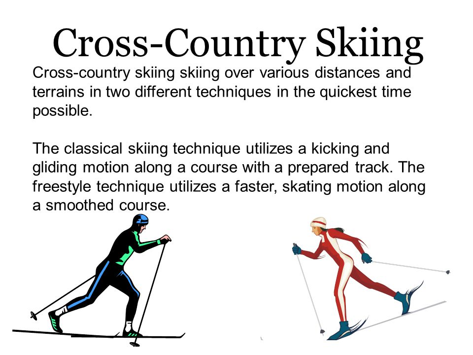 The classical skiing technique utilizes a kicking and gliding motion along a course with a prepared track.