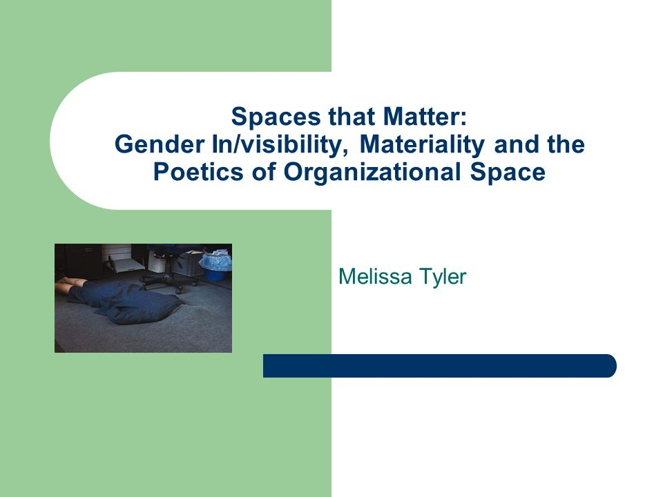 Spaces that Matter: Gender In/visibility, Materiality and the Poetics of Organizational Space Melissa Tyler