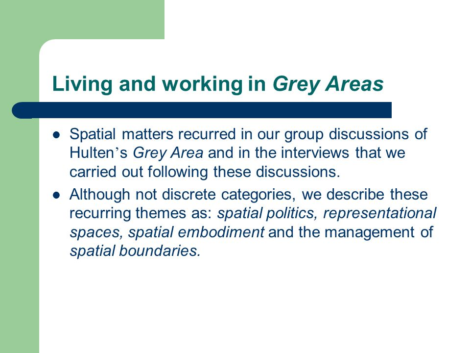 Living and working in Grey Areas Spatial matters recurred in our group discussions of Hulten ' s Grey Area and in the interviews that we carried out f