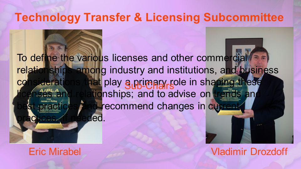 Technology Transfer & Licensing Subcommittee To define the various licenses and other commercial relationships among industry and institutions, and bu