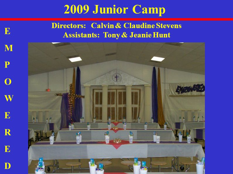 2009 Junior Camp Directors: Calvin & Claudine Stevens Assistants: Tony & Jeanie Hunt EMPOWEREDEMPOWERED