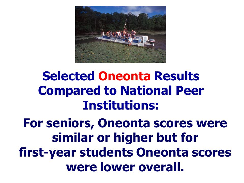 For seniors, Oneonta scores were similar or higher but for first-year students Oneonta scores were lower overall.
