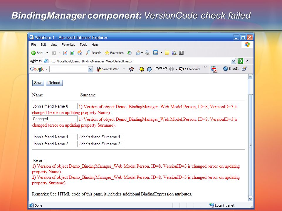 BindingManager component: VersionCode check failed