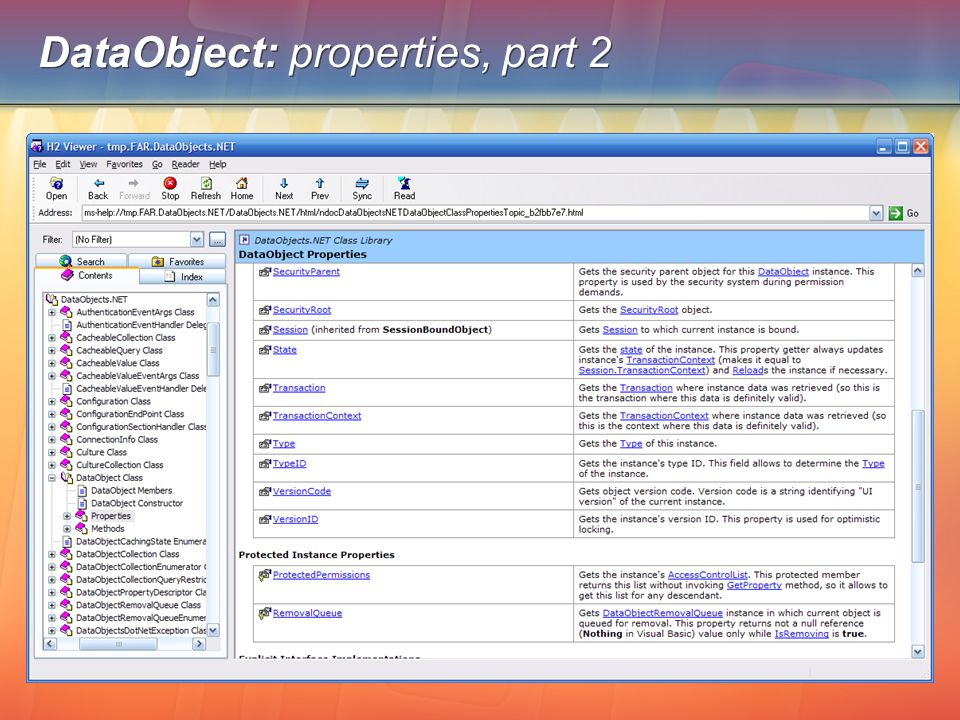 DataObject: properties, part 2