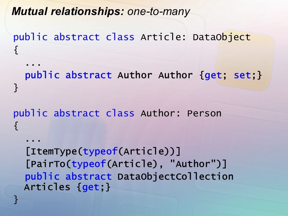 Mutual relationships: one-to-many public abstract class Article: DataObject {... public abstract Author Author {get; set;} } public abstract class Aut