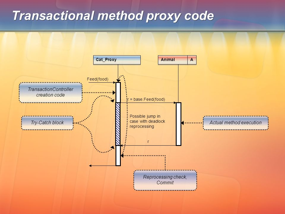 Transactional method proxy code Animal Cat_Proxy Feed(food) r = base.Feed(food) r Actual method execution TransactionController creation code Try-Catc