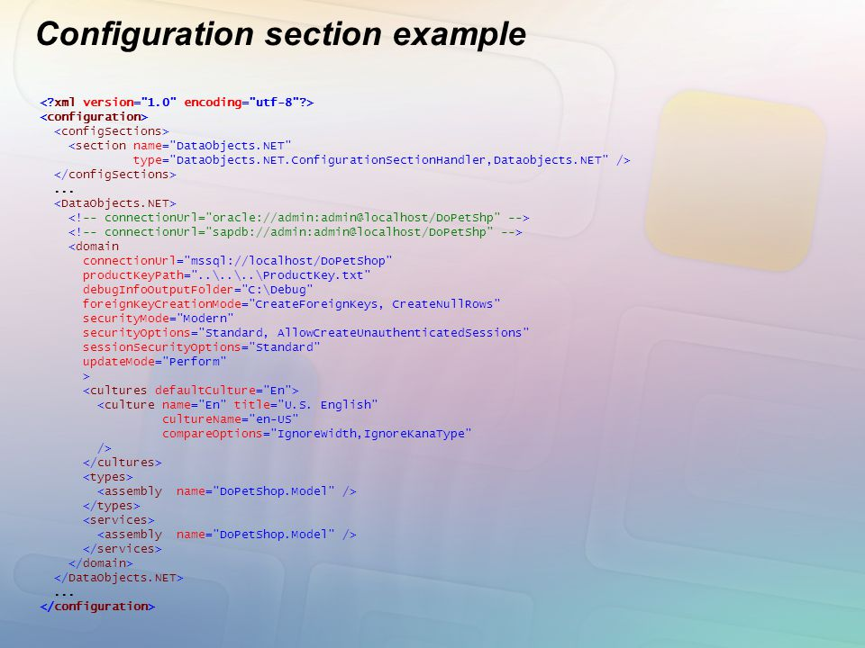 Configuration section example <section name=