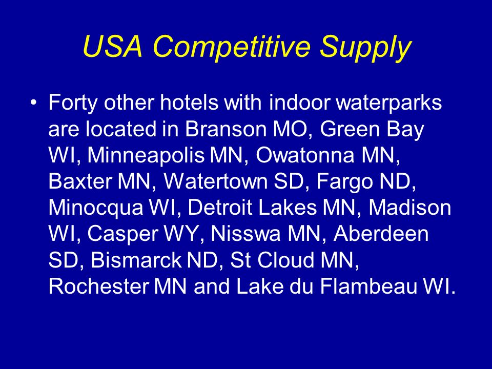 Hotel Waterpark Resorts Under Construction Other hotel indoor waterparks: USA: Dubuque IA, Boyne Falls MI, Maple Grove MN, Missoula MT.