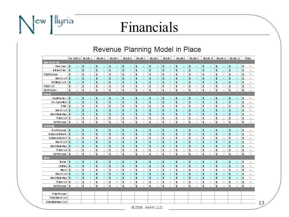 13 Financials Revenue Planning Model in Place © 2005. AAAW, LLC