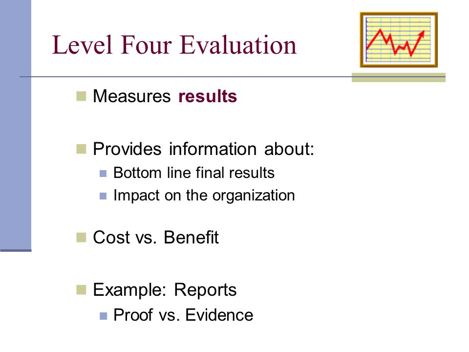 Measures results Provides information about: Bottom line final results Impact on the organization Cost vs. Benefit Example: Reports Proof vs. Evidence