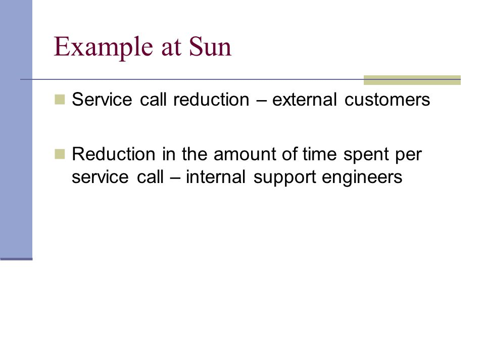 Example at Sun Service call reduction – external customers Reduction in the amount of time spent per service call – internal support engineers