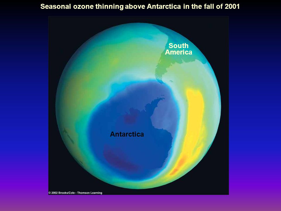 South America Antarctica Seasonal ozone thinning above Antarctica in the fall of 2001