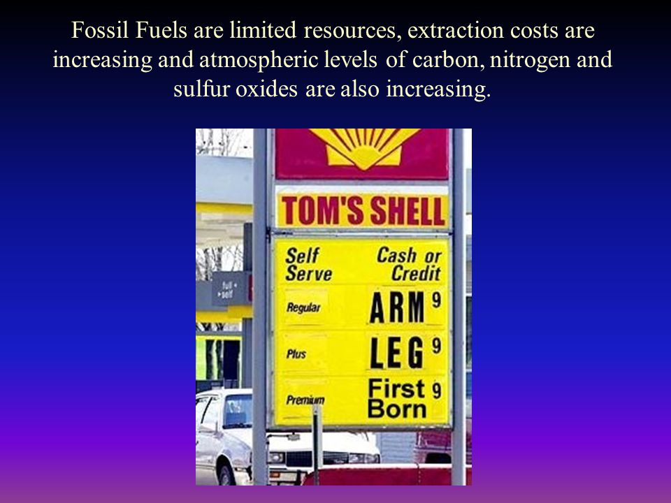 Fossil Fuels are limited resources, extraction costs are increasing and atmospheric levels of carbon, nitrogen and sulfur oxides are also increasing.