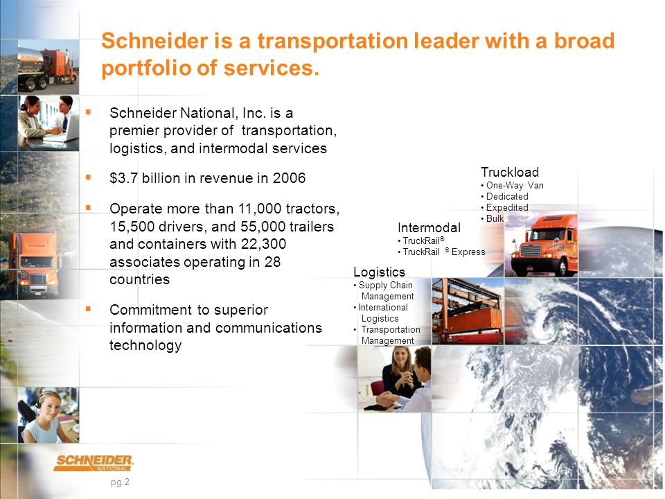 pg.2 Schneider is a transportation leader with a broad portfolio of services.